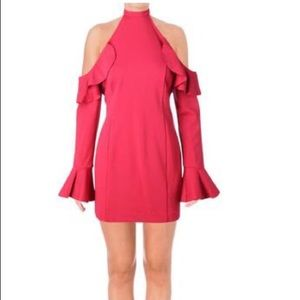 Free people raspberry cold shoulder dress